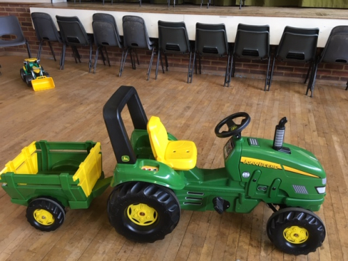 Large green John Deere tractor and Trailer ride on toy