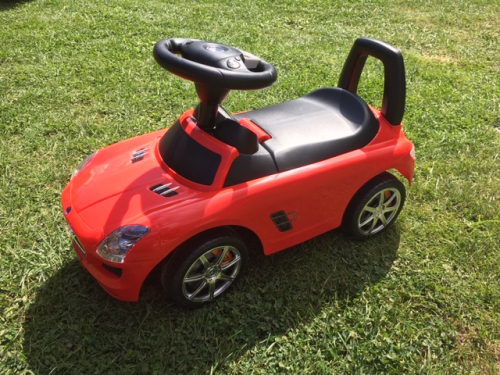 red ride on Mercedes toy car